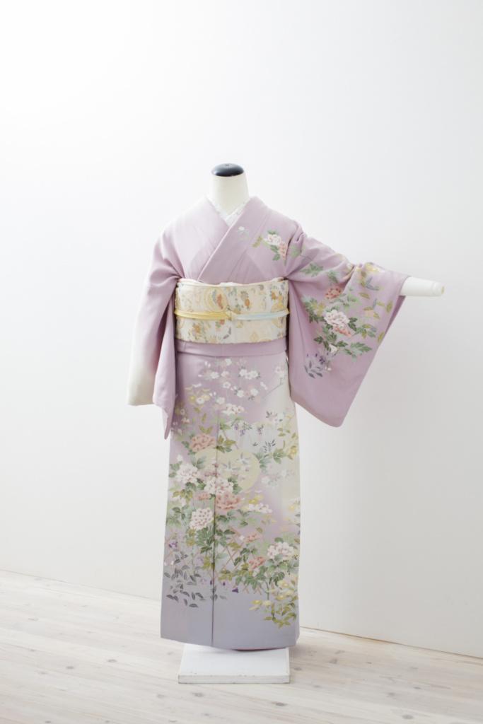 紫地花籠黄桜小花訪問着