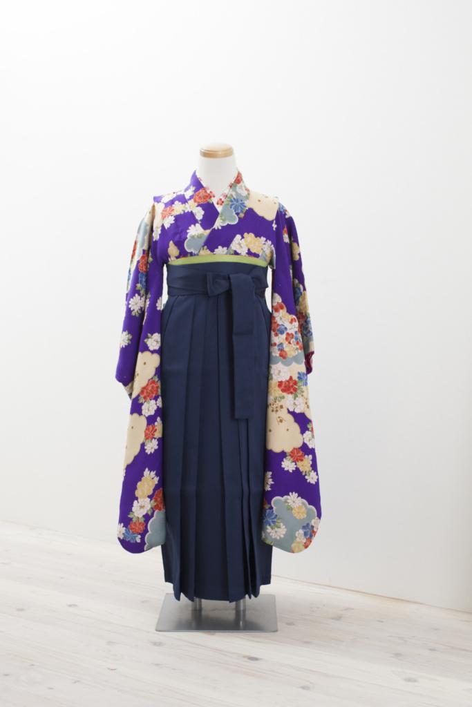 園児袴・紫地古典柄着物