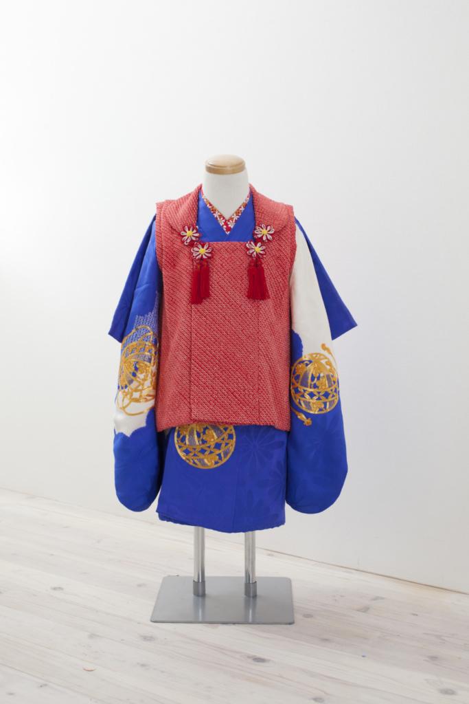 青地金コマ刺繍 三歳女の子きもの