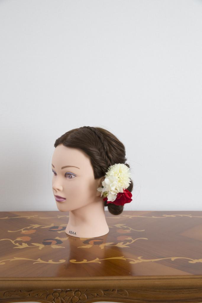 髪飾り・ブーケ赤白