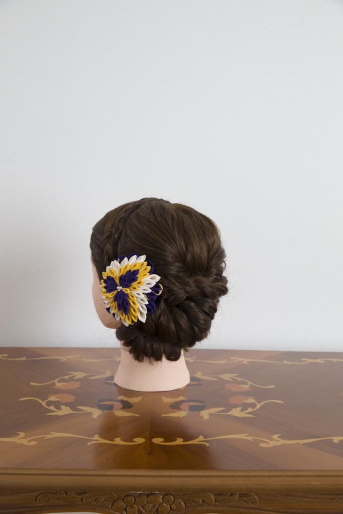 つまみ細工髪飾り・半くす紫黄色