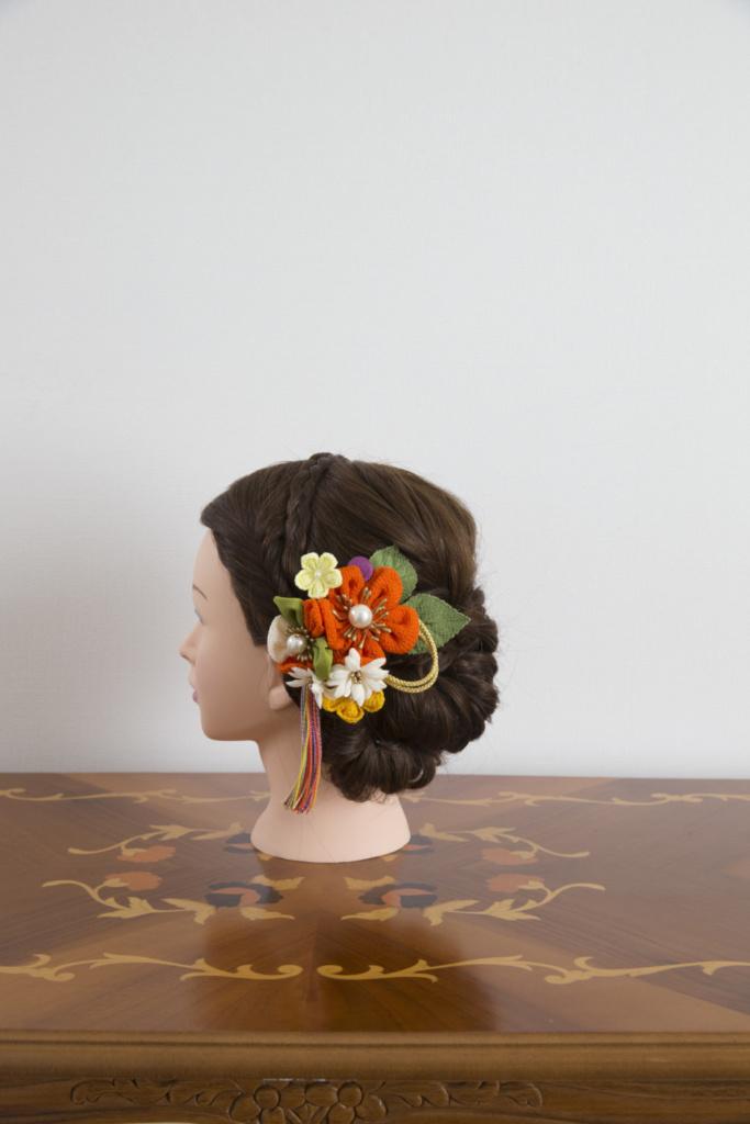 髪飾り・オレンジ花