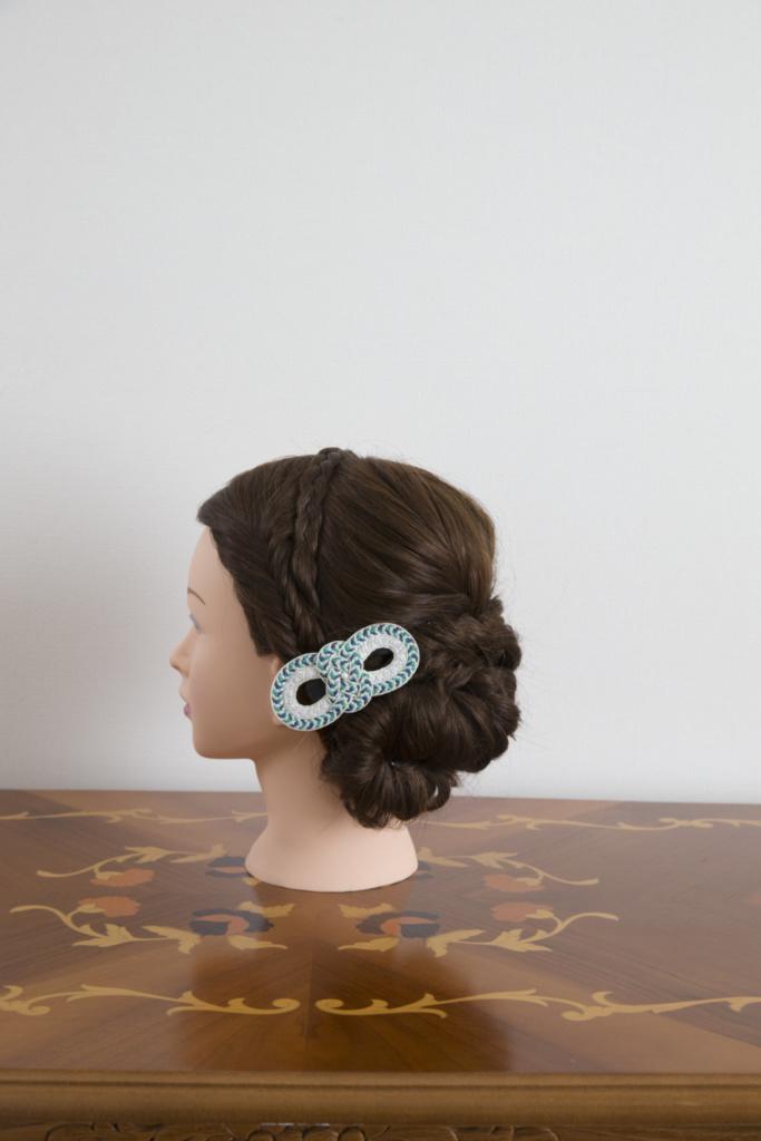 髪飾り・組紐バレッタ青