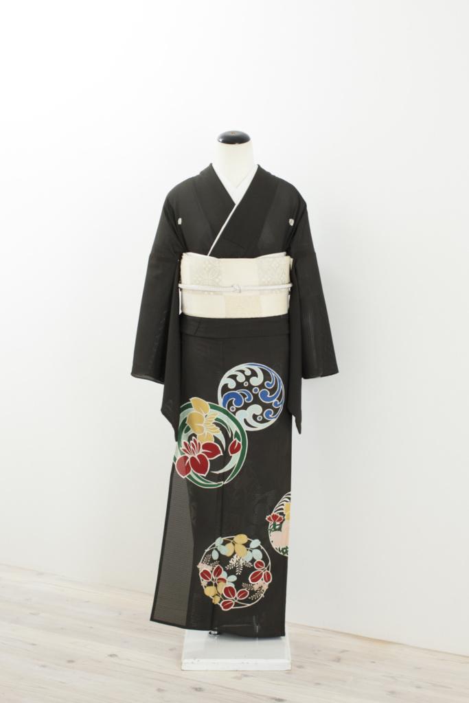 花の丸黒留袖
