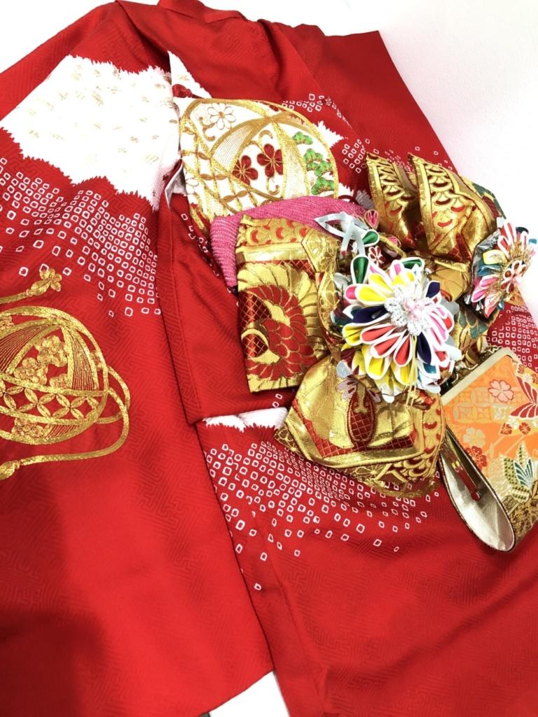〈レンタルきもの〉3歳着物と帯のコーディネート