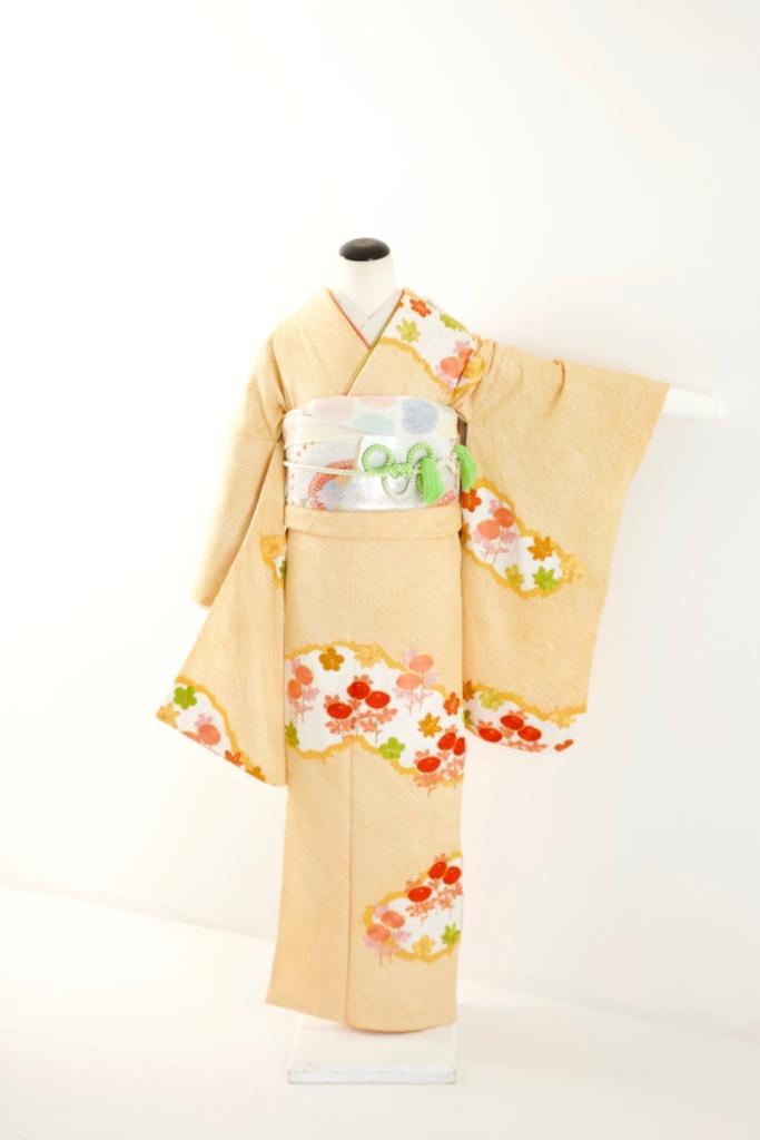 オレンジ絞り花刺繍柄中振袖(B)