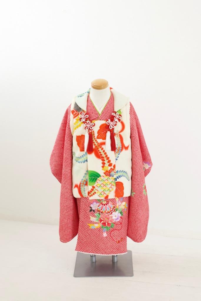 赤総絞り花刺繍